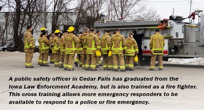 public safety officers doing fire fighter training