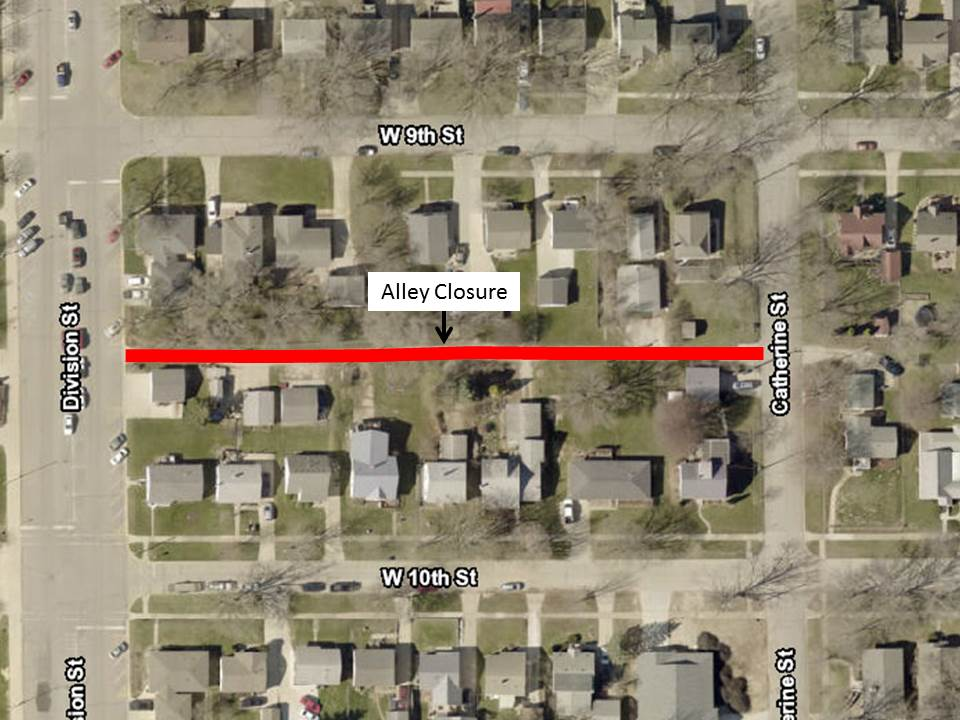 Alley Closure Notice - Division Street to Catherine Street Between 9th and 10th Street